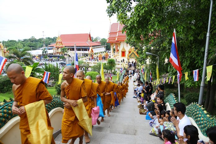 Monks in Sattahip climb the celestial stairs to prepare for the Tak Bat Devo ceremony.
