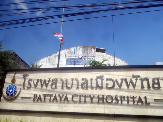 The national flag flies at half-mast at Pattaya City Hospital, as it does everywhere throughout the kingdom.