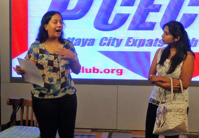 """The PCEC enjoyed the skit, """"The Role of Della."""" Here, Pattaya Players Meenakshy Narayanan and Deepika Bedwai play two of the actresses."""