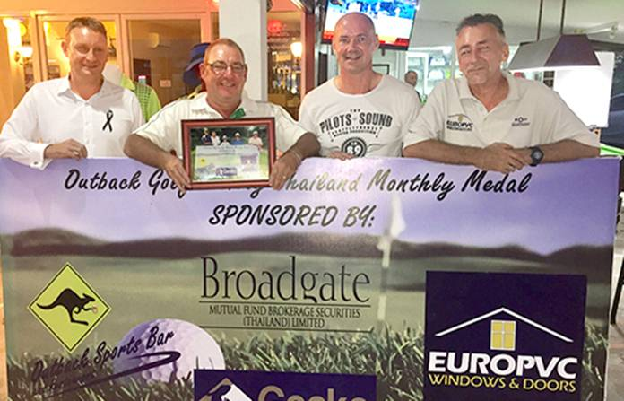 (L-R) Greg Hill (Broadgate Securities) with medal winner Mickey Beresford, Andre Coetzee (Outback Bar) and Gordon Hall (EuroPVC).