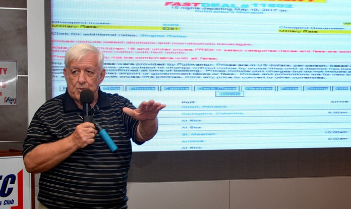 """PCEC member Roger Fox who keeps track of ship cruises at low prices, announces his latest """"find"""" to members and guests and describes how you can go about booking the cruise if you are interested."""