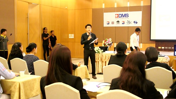 Dr. Pornchai Chayaboonpanyasupakhun, director of the Urology Surgery Center, hosts a seminar covering medical procedures, care and prevention of prostate cancer.