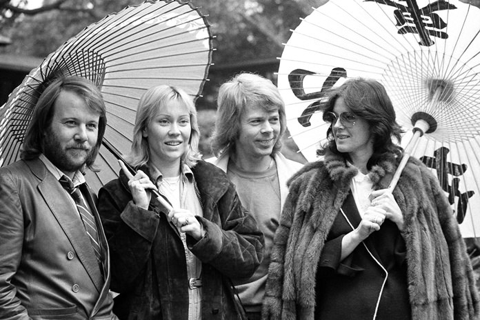 The four members of Swedish pop group ABBA, from left, Benny Andersson, Agnetha Faltskog, Bjorn Ulvaeus and Anni-Frid Lyngstad are shown together in this March 14, 1980 file photo. (AP Photo/Tsugufumi Matsumoto)
