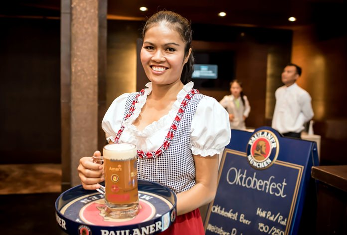 Traditional draught beer was the favoured tipple for the occasion.