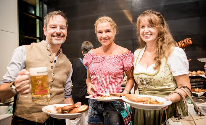 The traditional German food and beverages went down a treat with guests.