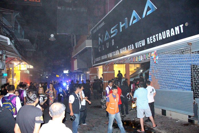 Flames broke out in the popular Nashaa Club Indian disco on Walking Street.