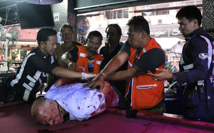 A severely intoxicated foreign man went on a rampage on Soi Buakhao before finally being corralled by police.