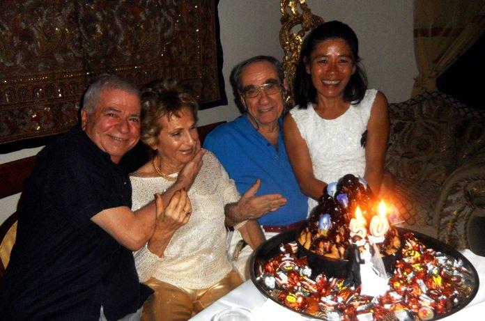 The two couples together: (from left) Paolo Battaglino, Francesca and Francesco Braggio and Ket Battaglino.