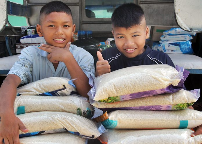You can donate a bag of rice to help feed the children.