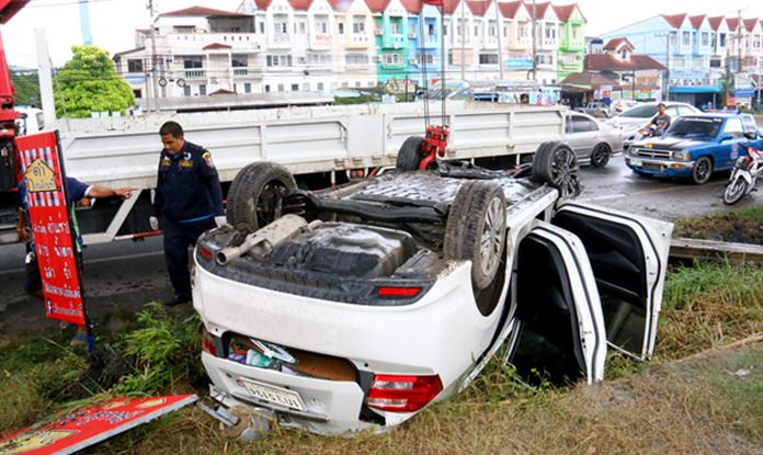An elderly Swiss man was critically injured and his wife also hurt when their Honda compact flipped on Sukhumvit Road in Sattahip.