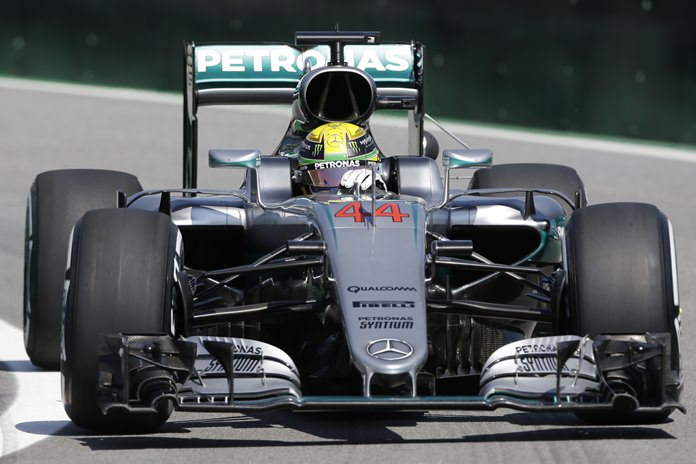 Mercedes driver Lewis Hamilton, of Britain, steers his car during the first free practice at the Interlagos race track in Sao Paulo, Brazil, Friday, Nov. 11. (AP Photo/Ricardo Mazalan)