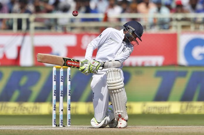 England's Haseeb Hameed bends to avoid a rising delivery on the fourth day of the second test against India in Visakhapatnam, India, Sunday, Nov. 20. (AP Photo/Aijaz Rahi)