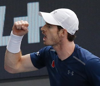 Britain's Andy Murray reacts after winning a point against Spain's Fernando Verdasco during the 2nd round of the Paris Masters tennis tournament at the Bercy Arena in Paris, Wednesday, Nov. 2. Murray won 6-3 (AP Photo/Michel Euler)