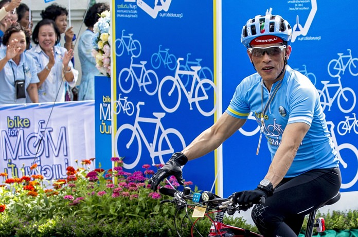 HM King Maha Vajiralongkorn Bodindradebayavarangkun joins hundreds of thousands of people throughout Thailand in the 'Bike for Mom' cycling event to mark Her Majesty the Queen's 83rd birthday in August 2015.