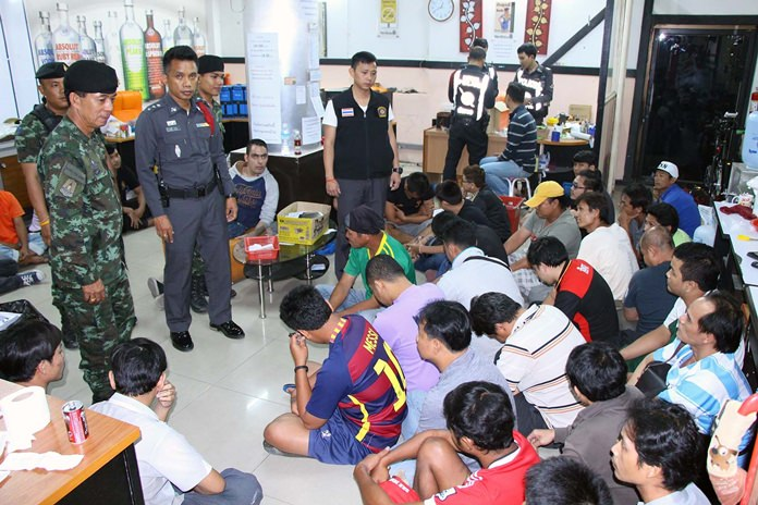 About 40 alleged gamblers were arrested when soldiers raided an underground football-betting parlor in Pattaya.