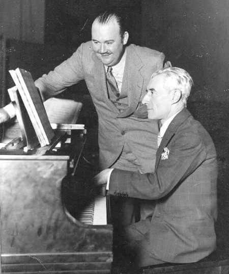 Maurice Ravel (right) and American band-leader Paul Whiteman in 1928.