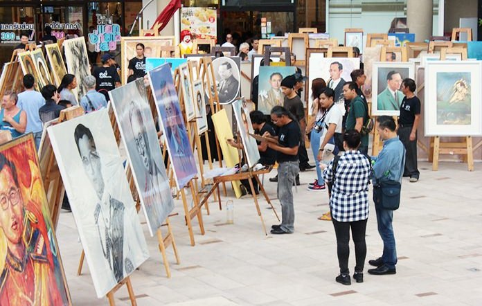 Exhibition of paintings and sketches of HM the late King are available for people to see in public areas.