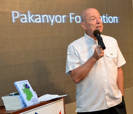 MC Roy Albiston introduces Jim Soutar prior to his presentation to the PCEC on the Pakanyor Foundation and its work among Thailand's Karen villages.