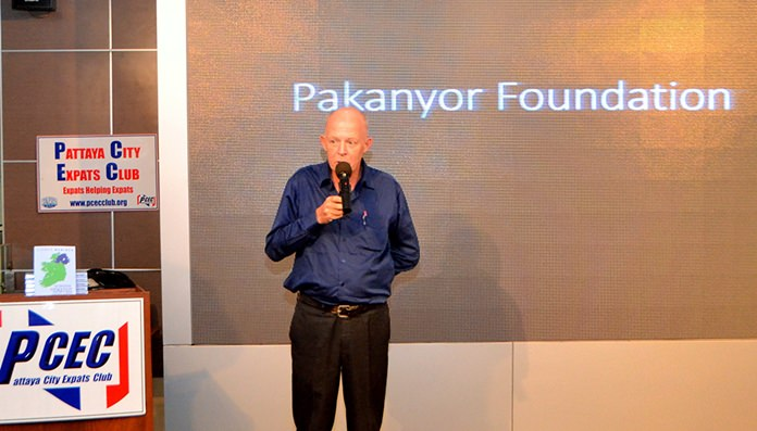 Jim Soutar explains to his PCEC audience how his work for Britain's MI6 in Bangkok in the early '80s led him to visit Thailand's Karen Villages and how he became fascinated with their lifestyle.