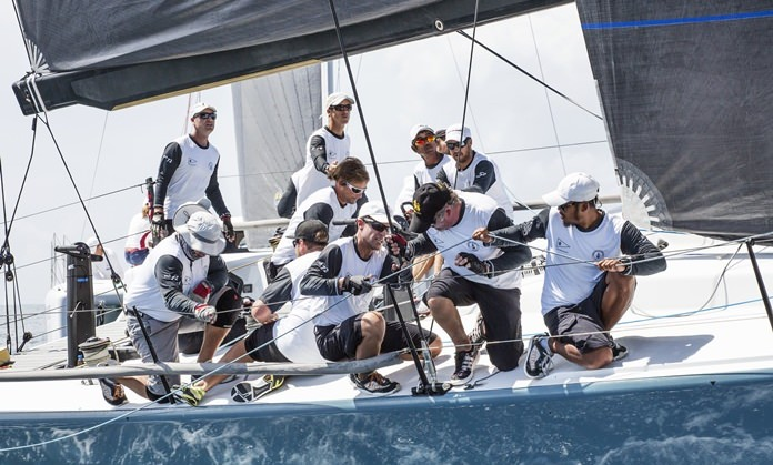 The crew on THA72 work hard to secure victory in IRC Zero class.