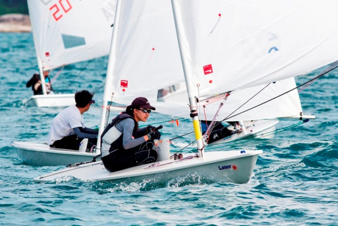 Young sailors battle for honors in the Laser fleet.