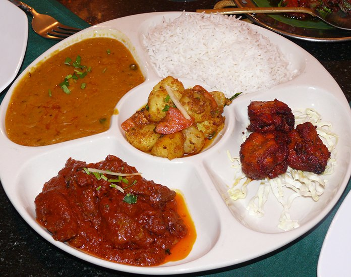 A Thali plate for Indian food novices.