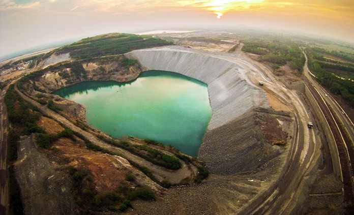 An aerial view of Chatree gold mine in central Thailand. (Akara Resources via AP)