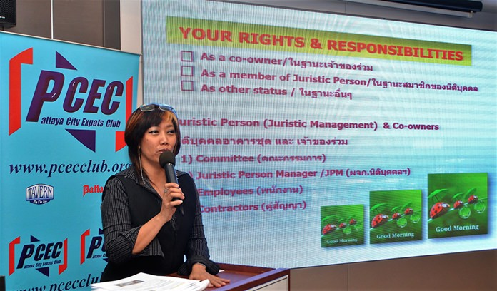 Rose Yangpreeda explains to her PCEC audience that although there are many laws that apply to the purchase of a condominium, there are none that apply to the real estate industry itself, thus it is unregulated. She cautioned that the purchaser needs to fully understand their rights and responsibilities when they purchase a condominium.