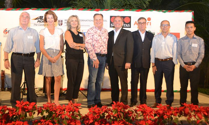 Helmut Buchberger, managing director at ABC Asia Business Consulting Co., Ltd., Joanna Kearny, Director of Admissions & Marketing at Regents International School, Judy Benn, executive director at Amcham, Simon Matthews from Manpower, Rob Rijnders, area general manager at Amari Hotels, Richard Gamlin, residence manager at Amari Pattaya, Rob Scarr, Business Development Manager of the Securitas Thailand Co., Ltd., and Pasit Foobunma, director and webmaster at SATCC.