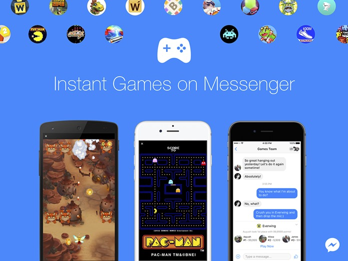 "This image provided by Facebook shows a demonstration of Facebook's new option to play games with contacts on Facebook Messenger. The feature can be accessed in the latest version of the messaging app by tapping a game controller icon. Games available include classics such as ""Pac-Man,"" ""Space Invaders"" and ""Galaga,"" as well as newer titles. (Facebook via AP)"