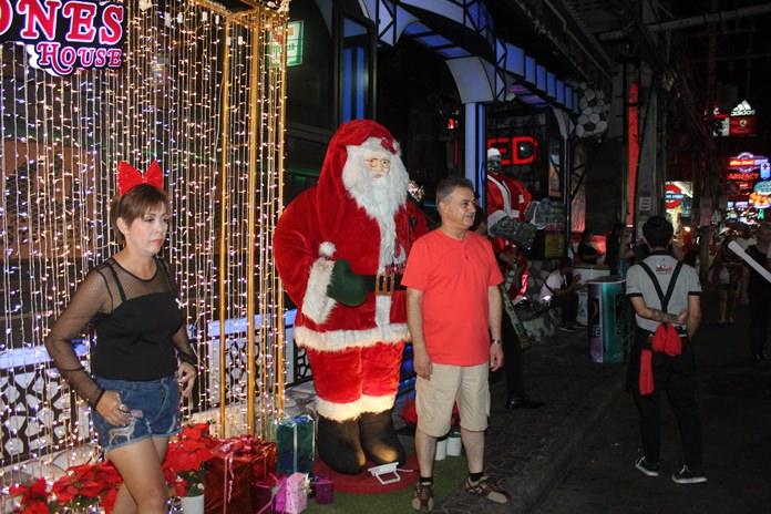 Santa could be seen everywhere in Walking Street.