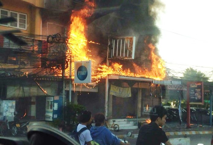 Crews from six fire trucks took about an hour to control the blaze that destroyed the offices of internet service provider 3BB.