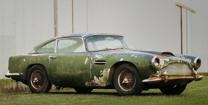 The dilapidated Aston Martin DB4.
