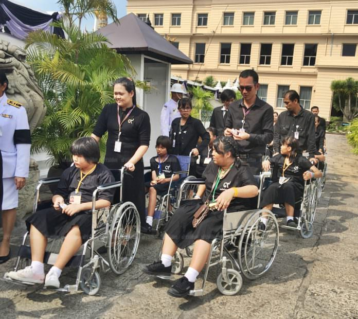 Special area provided for elderly and disabled mourners at Sanam Luang