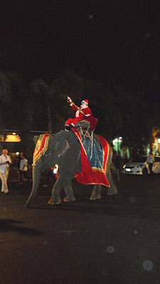Santa Claus arrives on the back of an elephant.