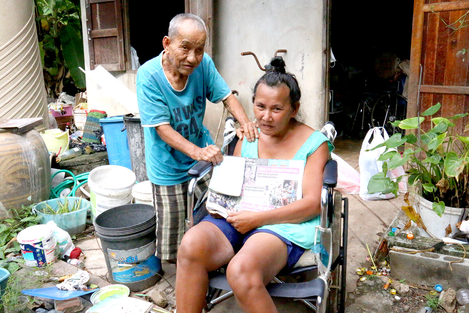 Klissana Tiemsuwan and his disabled wife Sirirat were dealt another blow when their daughter stole the charitable donations neighbors contributed.