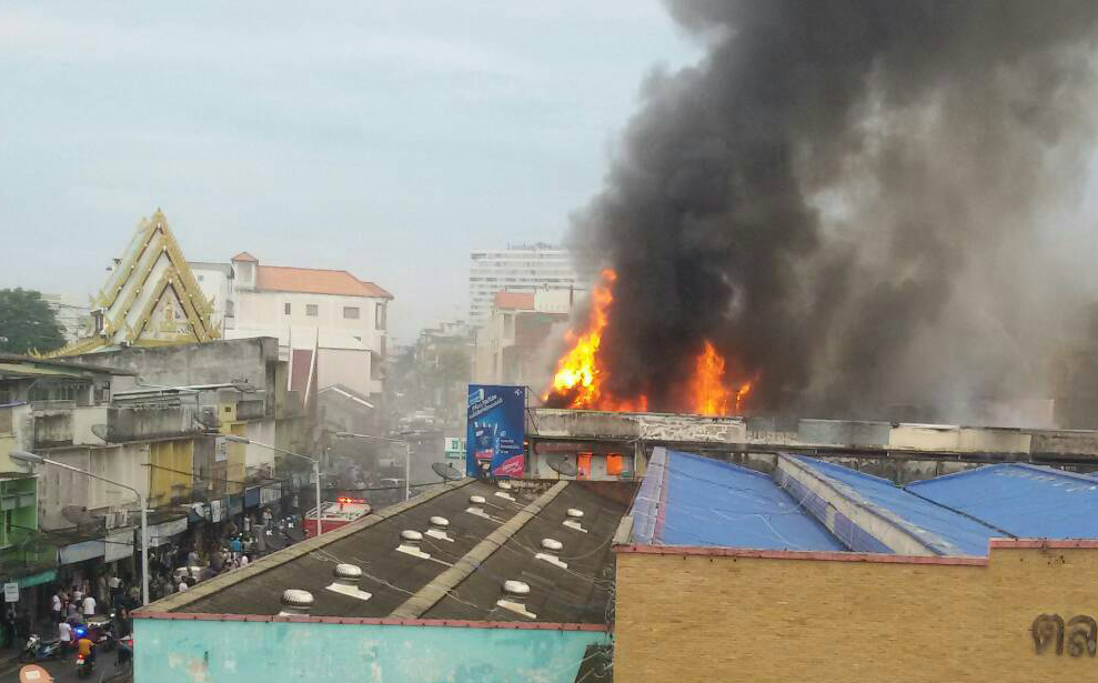A firestorm that swept through commercial buildings in Sriracha was estimated to have caused more than 20 million baht in damage.