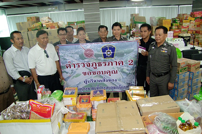 Chonburi officials donated much-needed supplies and cash to flood-stricken residents of 10 southern provinces.