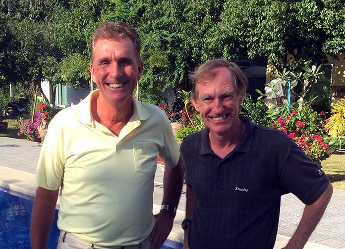Jonathan Pratt (right) with Neil Harvey.