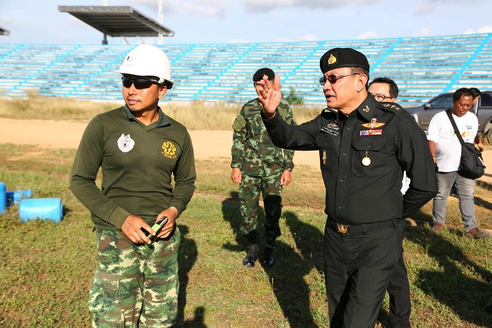 Col. Popanan Leuangphanuwat, Deputy Commander of the 14th Military Circle and members of Pattaya Council paid a visit to inspect the half finished 20,000 seated football stadium on Soi Chaiyapruek 2.
