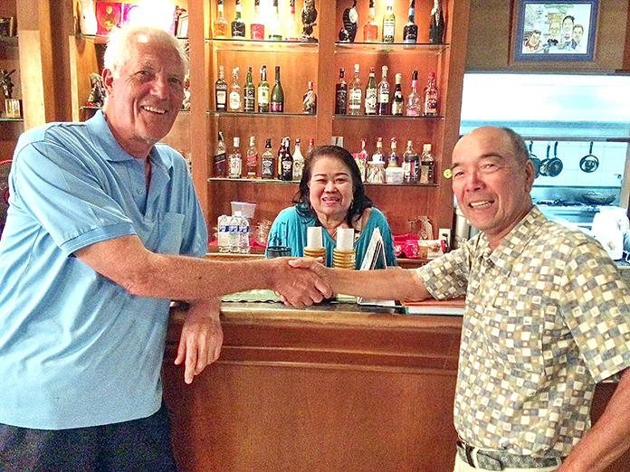 Gordon Clegg (left) and Mashi Kaneta (right) with 'The Boss'.