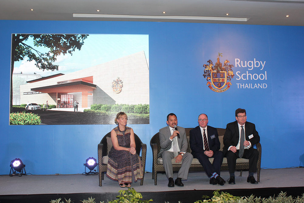 (L to R) Board of Governors Chair Lucinda Homes, Rugby School Thailand Owner Nataphol Teepsuwan, Rugby School UK Director Peter Green, and Rugby School Thailand Founding Head Nigel Westlake announce the formation of the school at a news conference in Pattaya's Dusit Thani Hotel.
