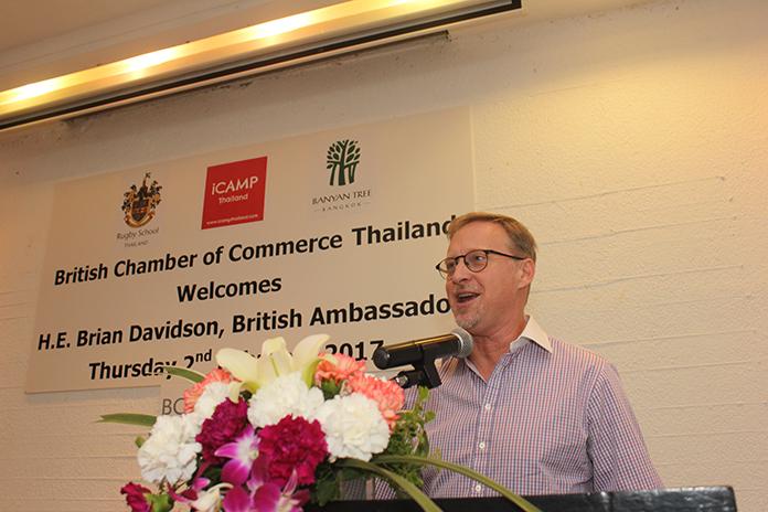 His Excellency Brian Davidson makes an informative speech.