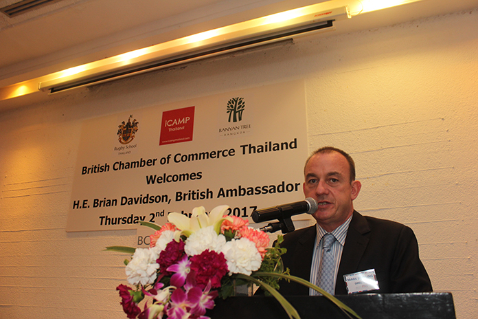 Mark Bowling, Chairman of the Eastern Seaboard British Chamber of Commerce Thailand introduces the British Ambassador to Thailand.
