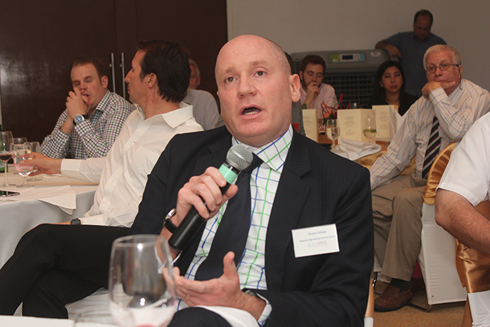 Grant Gillies from Regents International School poses a question during the Q&A session.