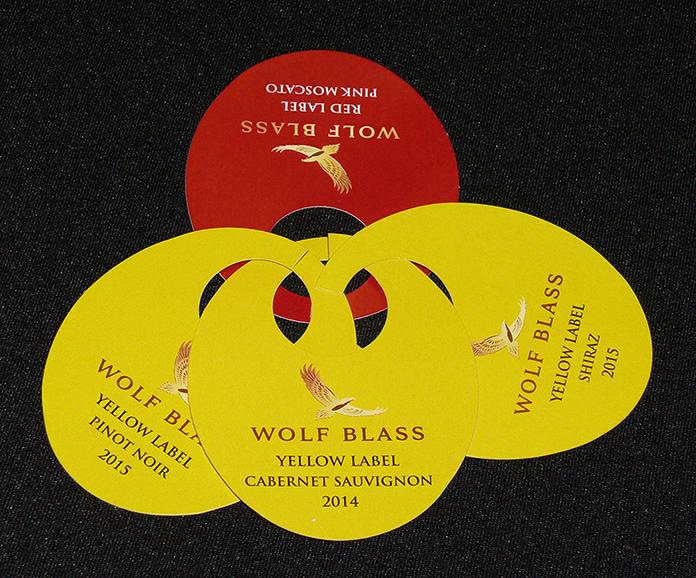 Wolf Blass wineglass stem labels.