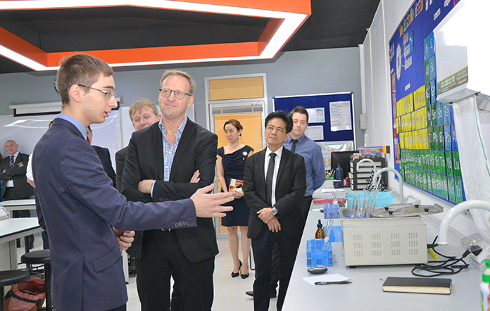 His Excellency who sees the value in education spent time interacting with students of varying ages during his tour of the new Art and Science Labs