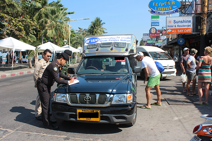 """The army launched its """"D-Day"""" operation against Pattaya baht buses and taxis, impounding 32 vehicles for three days for working off their assigned routes and parking illegally."""