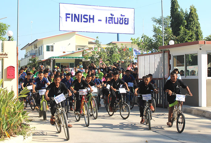 Young cyclists sprint from the start line during the 20km ride.