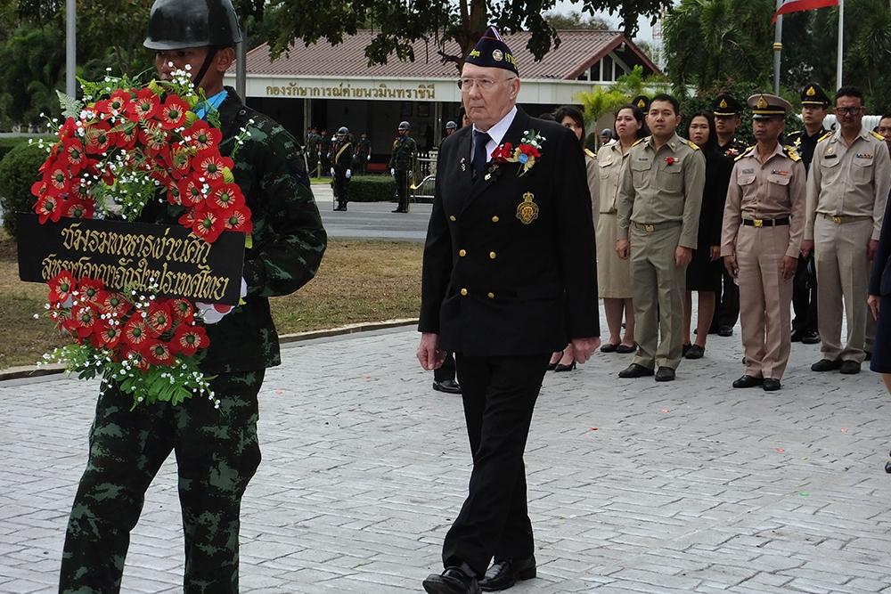 Royal British Legion Thailand wreath layer and Chairman Andy Barraclough.
